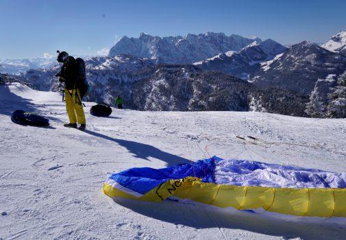 Paraglider BASE jump