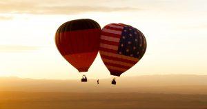 Balloon slackline monument valley