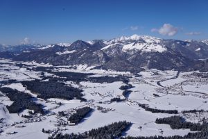 Winter landscape from paraglider