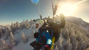 Flying with a tandem paraglider