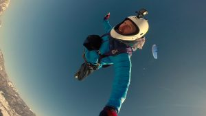 BASE jumping out of a paraglider