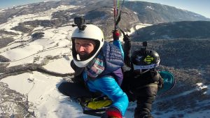 Jumping out of a paraglider